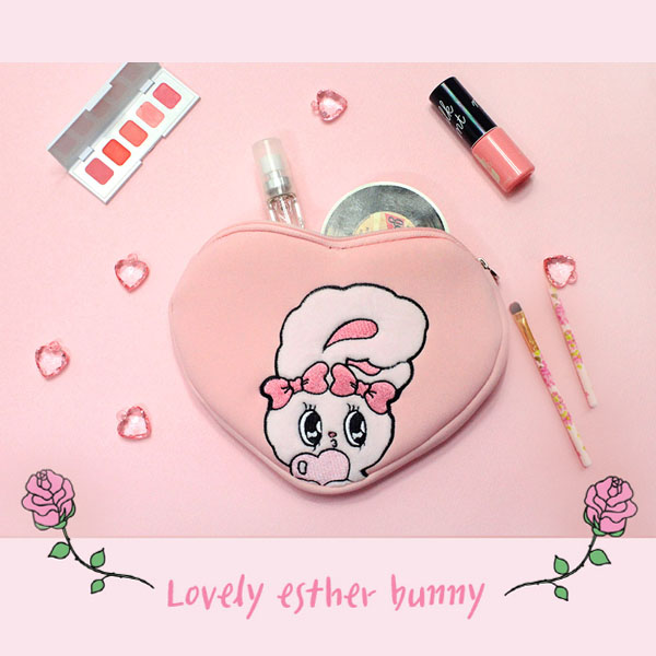 Esther Bunny Neoprene Heart Pouch