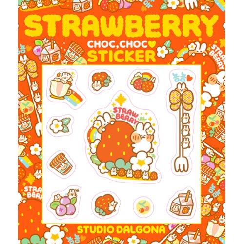 Dalgona Strawberry Wet Sticker
